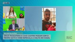 Grazi Massafera e Caio Castro posam com o mesmo gato e web especula a volta do casal
