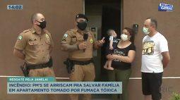 Policiais se arriscam para salvar família em apartamento tomado por fumaça tóxica