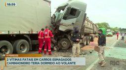 Duas vítimas fatais em carros esmagados, caminhoneiro teria dormido ao volante