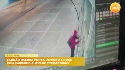 Ladrão quebra porta de vidro e foge com carrinho cheio de mercadorias