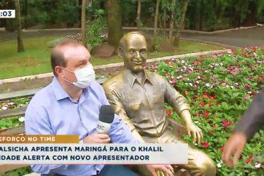 Salsicha apresenta Maringá para Nader Khalil, o novo apresentador do Cidade Alerta Maringá