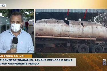 Acidente de trabalho: tanque explode e deixa jovem gravemente ferido