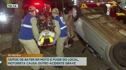 Depois de bater em moto e fugir do local, motorista causa outro acidente grave