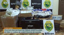 Policiais encontram materiais hospitalares em meio a carga de agrotóxicos em Guaíra