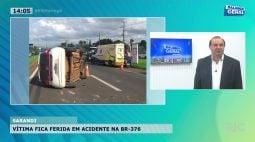 Vítima fica ferida em acidente na BR-376