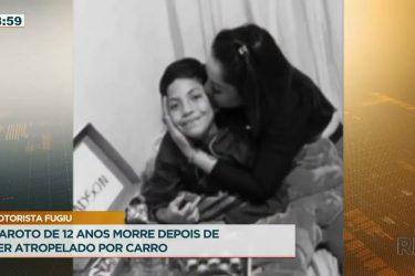 Criança de 12 anos morre atropelada e motorista não para veículo