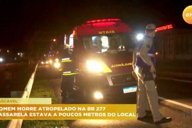 Homem morre atropelado na rodovia e passarela estava a poucos metros do local