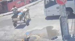 VÍDEO: Carroça fura preferencial e é atingida por ônibus
