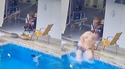 Vídeo emocionante mostra pai salvando bebê de 1 anos que caiu na piscina