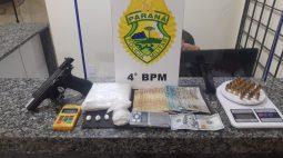 Homem é preso com mais de meio quilo de cocaína, pistola e 100 dólares em Sarandi
