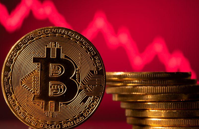 Bitcoin recua e caminha para forte queda mensal