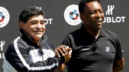 """""""Com certeza um dia vamos bater uma bola juntos lá no céu"""", diz Pelé após morte de Maradona"""