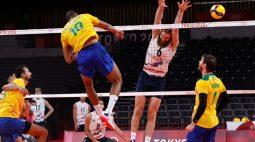 Vôlei masculino do Brasil derrota EUA de virada e se recupera nos Jogos