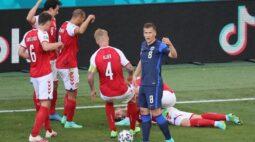 Jogador da Dinamarca recebe reanimação cardiorrespiratória durante jogo da Euro 2020